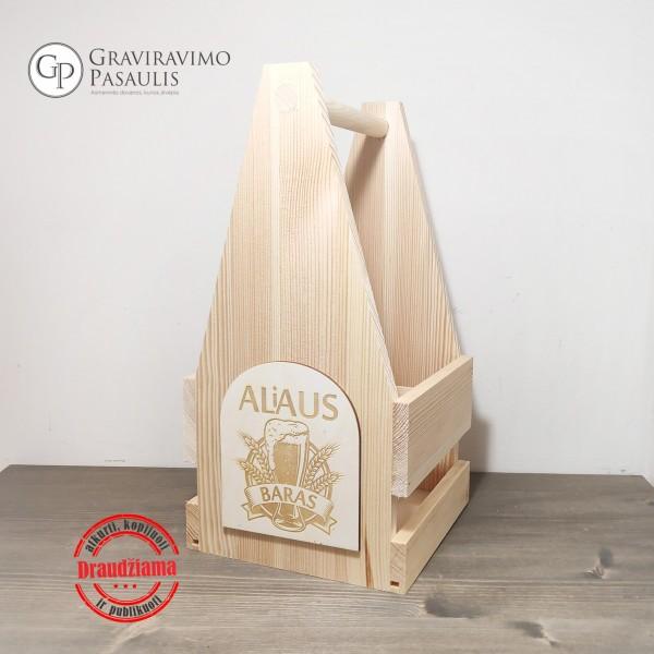 """Medinė graviruota alaus dėžė """"ALiAUS BARAS """""""