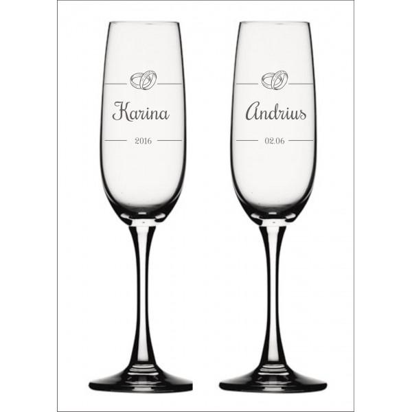 Vyno / šampano taurės graviravimas